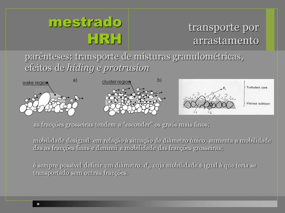 mestrado HRH parênteses: transporte de misturas granulométricas, efeitos de hiding e protrusion ou - correcção na tensão de arrastamento crítica transporte por arrastamento com há que corrigir as fórmular de transporte: - correcção na tensão de arrastamento actuante