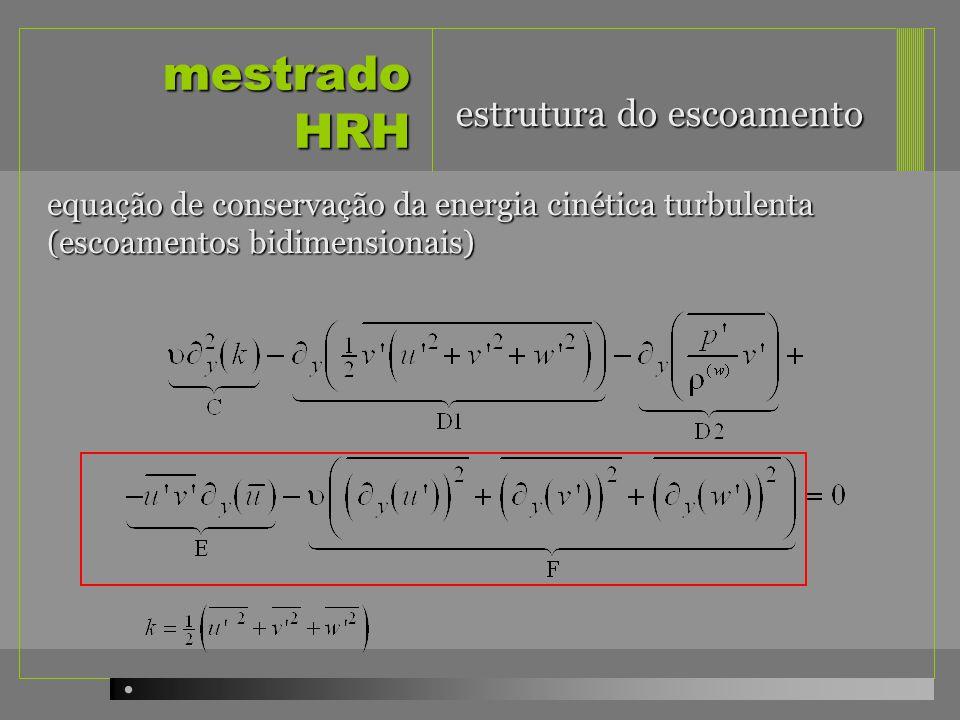 mestrado HRH equação de conservação da energia cinética turbulenta (escoamentos bidimensionais) estrutura do escoamento