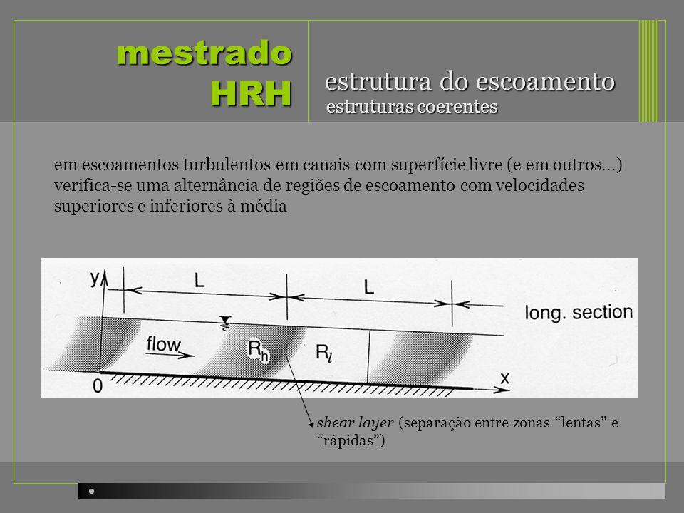 mestrado HRH em escoamentos turbulentos em canais com superfície livre (e em outros...) verifica-se uma alternância de regiões de escoamento com veloc