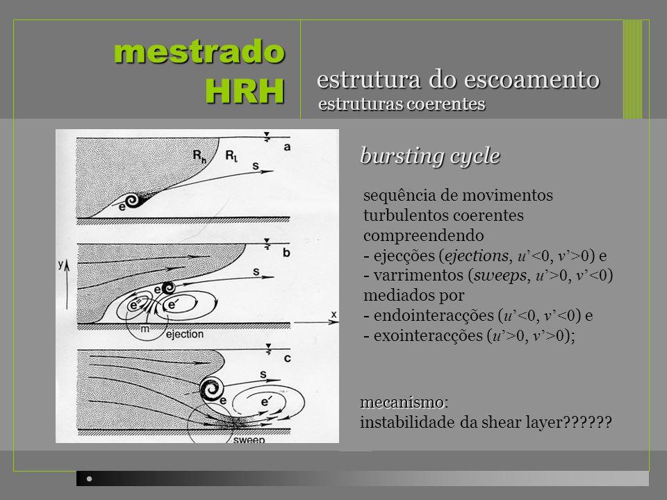 mestrado HRH estrutura do escoamento estruturas coerentes sequência de movimentos turbulentos coerentes compreendendo - ejecções (ejections, u 0 ) e -