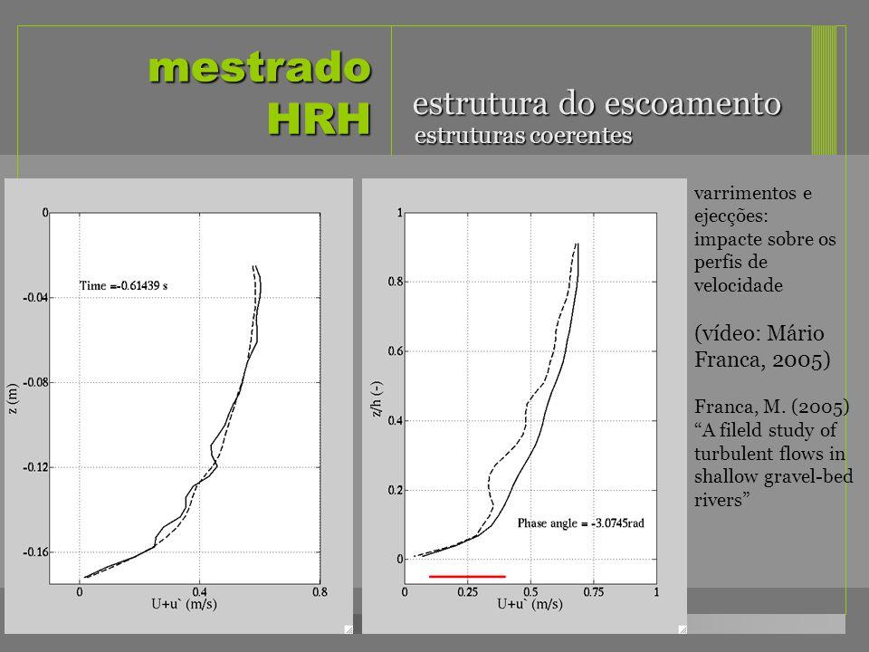mestrado HRH estrutura do escoamento estruturas coerentes varrimentos e ejecções: impacte sobre os perfis de velocidade (vídeo: Mário Franca, 2005) Fr