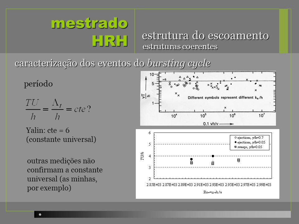 mestrado HRH estrutura do escoamento período estruturas coerentes caracterização dos eventos do bursting cycle Yalin: cte = 6 (constante universal) ou