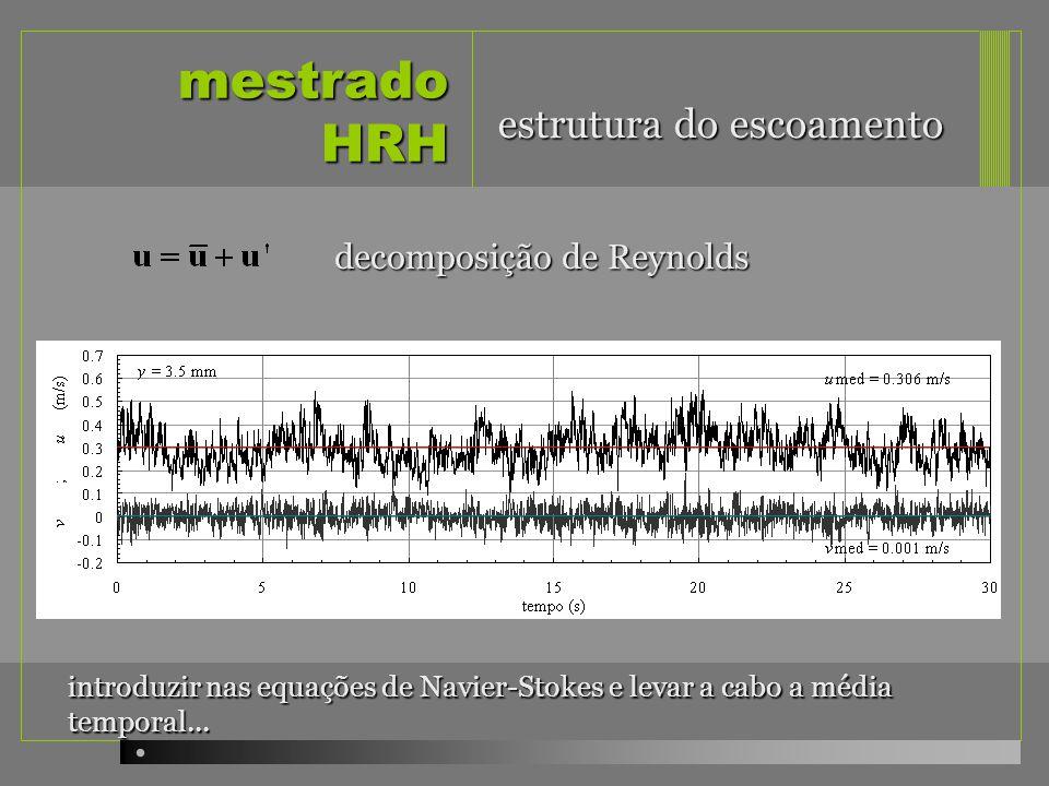 mestrado HRH início do transporte escala do grão = 27x10 -6 m 2 /s camada influenciada pela rugosidade aumentada 27 vezes equivalente a areia de 0.74mm em água