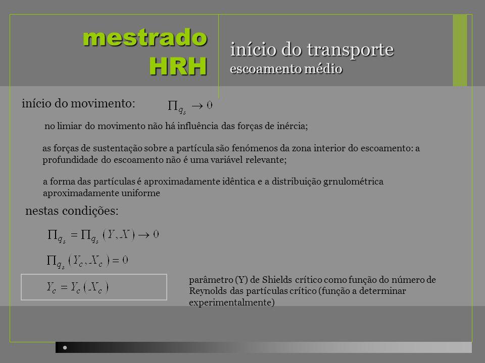 mestrado HRH início do movimento: no limiar do movimento não há influência das forças de inércia; as forças de sustentação sobre a partícula são fenóm