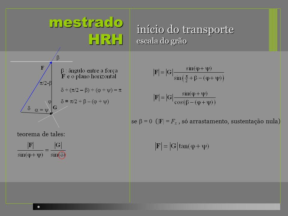 mestrado HRH /2- = /2 + – ( + ) + ( /2 – ) + ( + ) = teorema de tales: G F se = 0 ( |F| = F x, só arrastamento, sustentação nula) = início do transpor