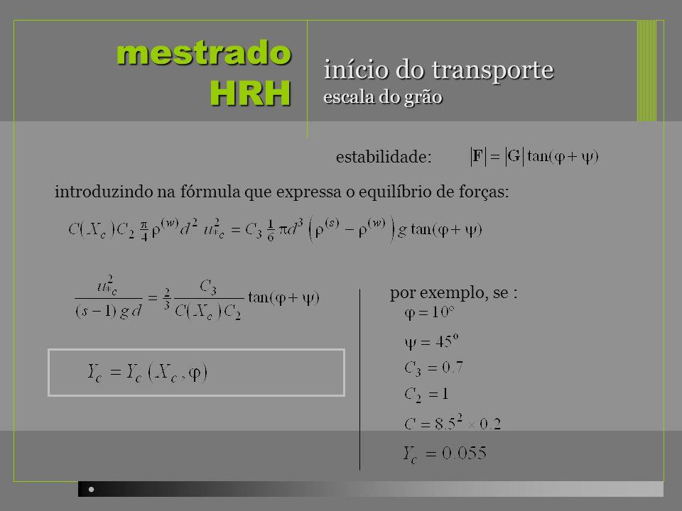 mestrado HRH início do transporte escala do grão estabilidade: introduzindo na fórmula que expressa o equilíbrio de forças: por exemplo, se :