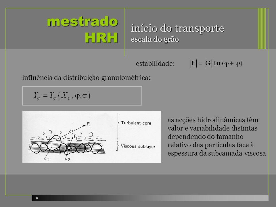 mestrado HRH início do transporte escala do grão estabilidade: influência da distribuição granulométrica: as acções hidrodinâmicas têm valor e variabi