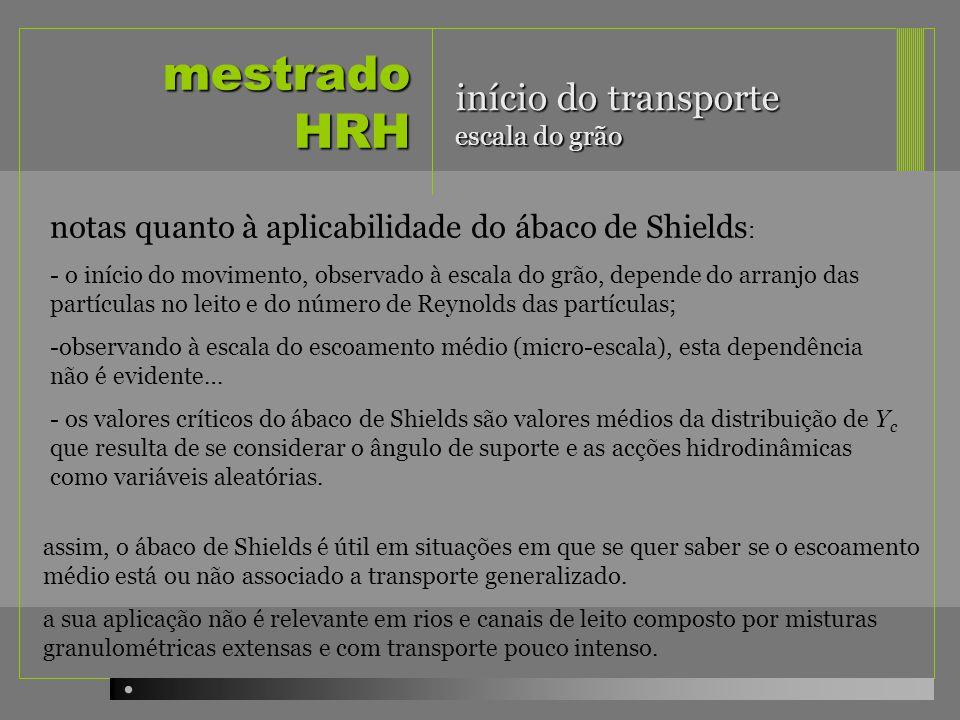 mestrado HRH notas quanto à aplicabilidade do ábaco de Shields : - o início do movimento, observado à escala do grão, depende do arranjo das partícula