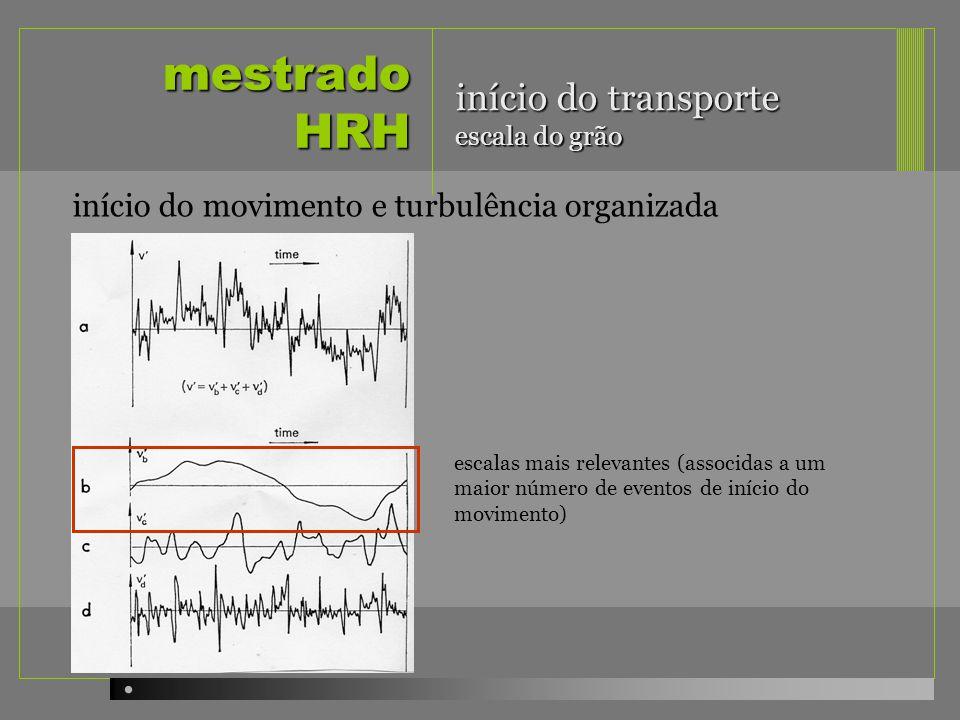 mestrado HRH início do transporte escala do grão início do movimento e turbulência organizada escalas mais relevantes (associdas a um maior número de