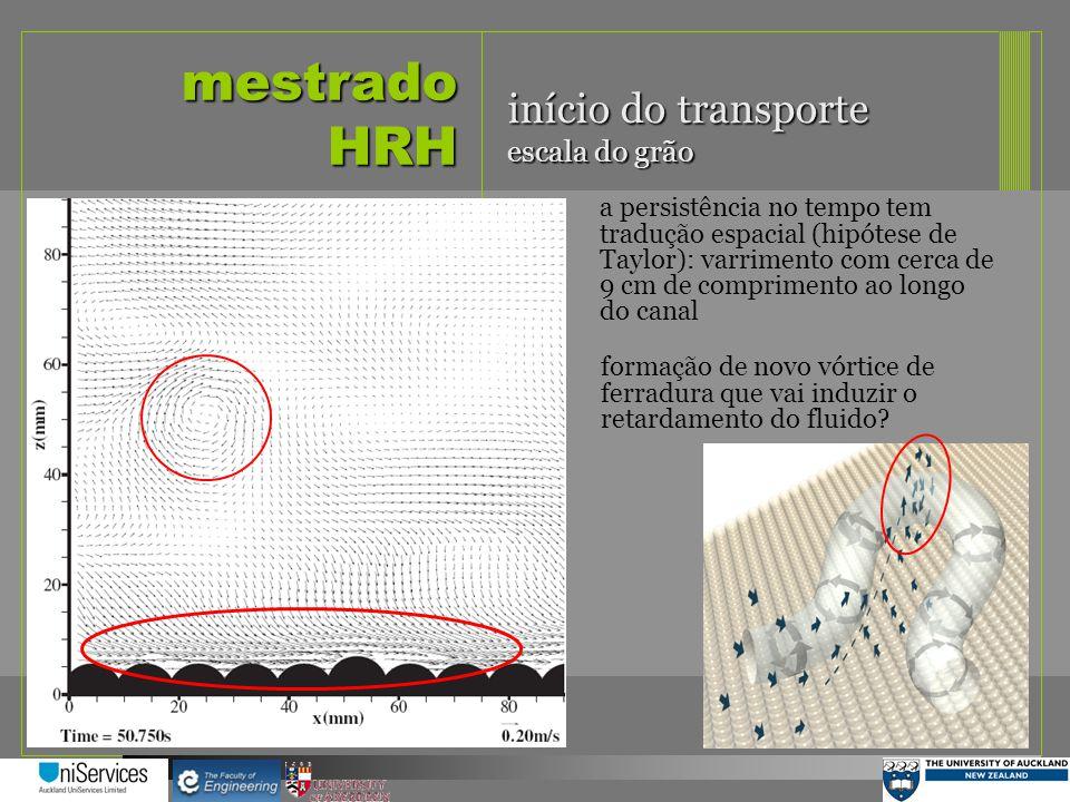 mestrado HRH início do transporte escala do grão a persistência no tempo tem tradução espacial (hipótese de Taylor): varrimento com cerca de 9 cm de c