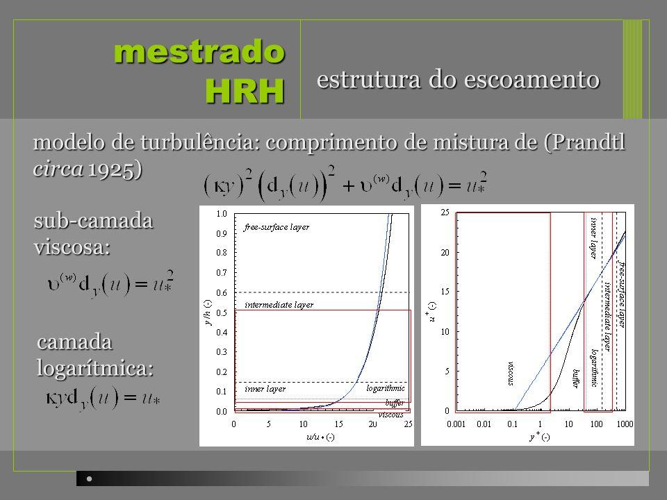 mestrado HRH modelo de turbulência: comprimento de mistura de (Prandtl circa 1925) sub-camada viscosa: camada logarítmica: estrutura do escoamento