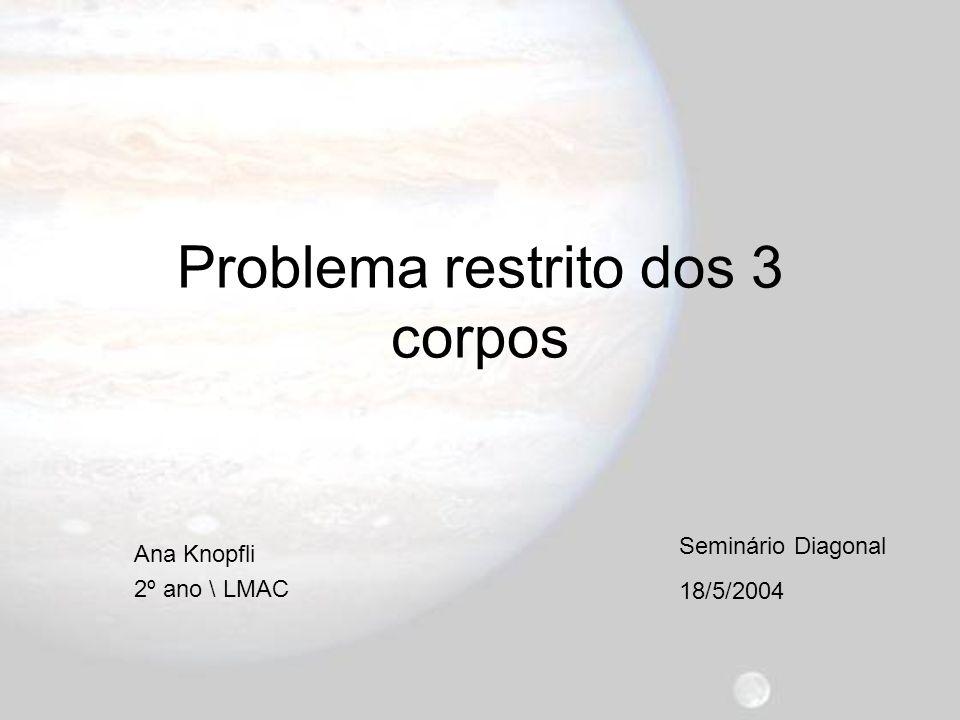 Problema restrito dos 3 corpos Ana Knopfli 2º ano \ LMAC 18/5/2004 Seminário Diagonal