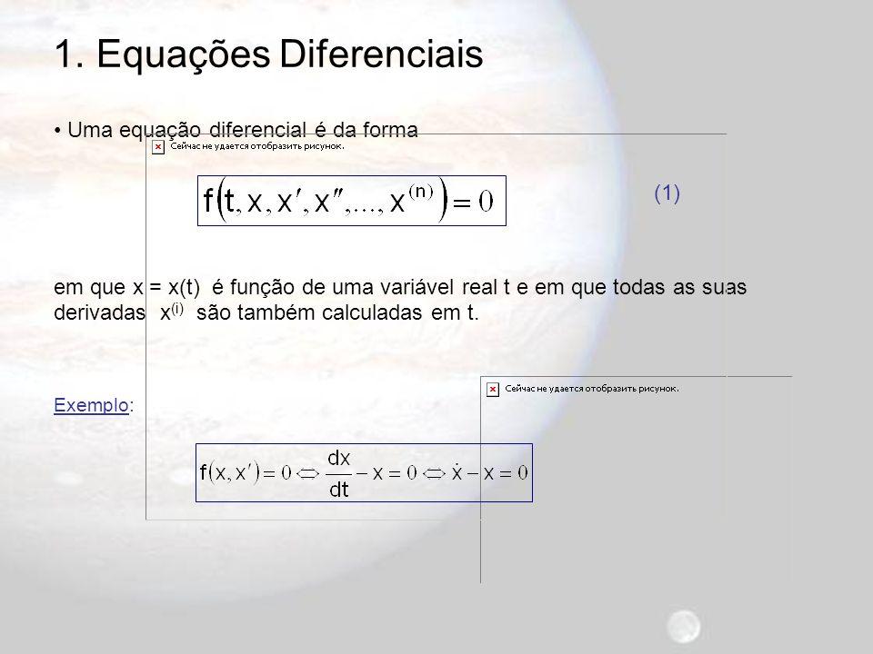 1.Equações Diferenciais A equação (1) é de n-ésima ordem porque n é a maior ordem de derivação.