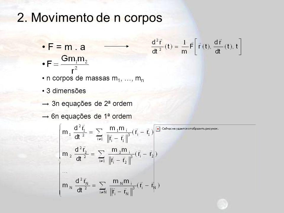 n = 2 Multiplicando as eqs.por m 1 e por m 2 e somando-as obtém-se: Primitivando… 2.