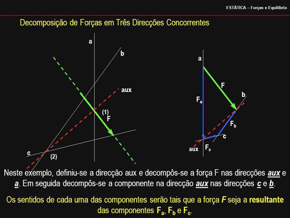 a b c aux a b c F FaFa FcFc FbFb Neste exemplo, definiu-se a direcção aux e decompôs-se a força F nas direcções aux e a. Em seguida decompôs-se a comp