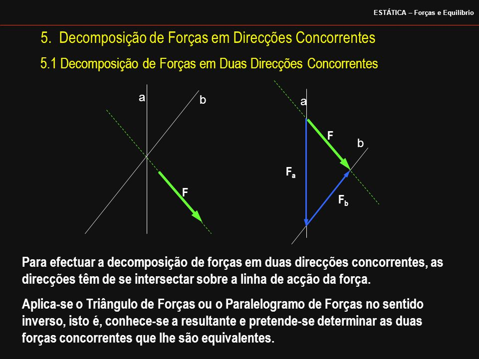 5. Decomposição de Forças em Direcções Concorrentes a b a b FaFa FbFb F F 5.1 Decomposição de Forças em Duas Direcções Concorrentes Para efectuar a de
