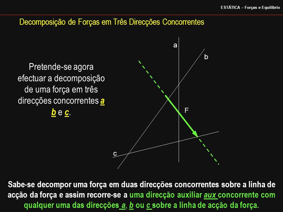 a b c Decomposição de Forças em Três Direcções Concorrentes Pretende-se agora efectuar a decomposição de uma força em três direcções concorrentes a b