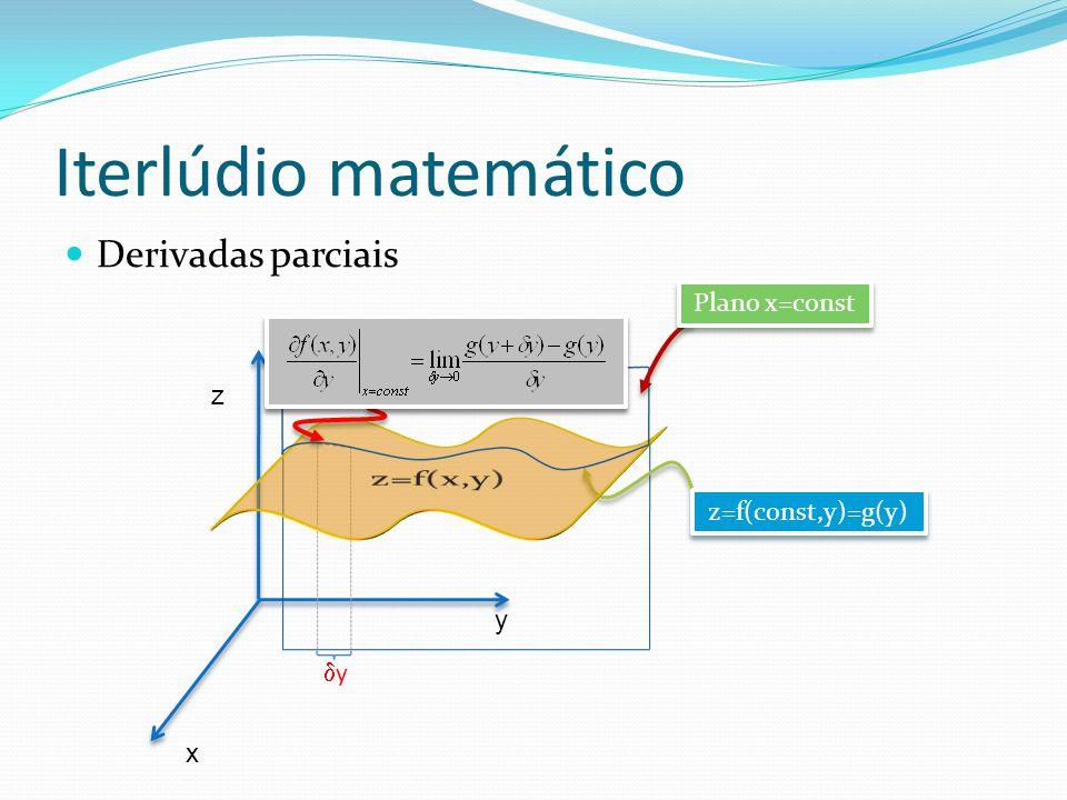 Iterlúdio matemático Derivadas parciais x y z z=f(const,y)=g(y) y Plano x=const