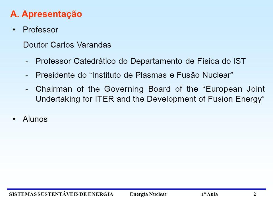 SISTEMAS SUSTENTÁVEIS DE ENERGIA Energia Nuclear 1ª Aula 2 A. Apresentação Professor Doutor Carlos Varandas -Professor Catedrático do Departamento de