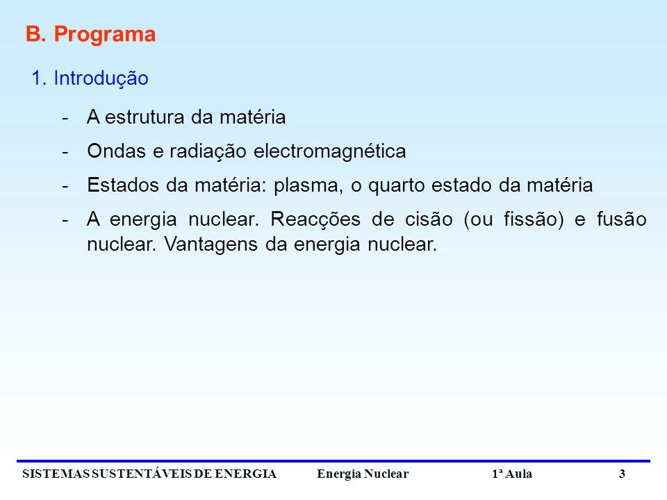 SISTEMAS SUSTENTÁVEIS DE ENERGIA Energia Nuclear 1ª Aula 3 B. Programa 1. Introdução -A estrutura da matéria -Ondas e radiação electromagnética -Estad