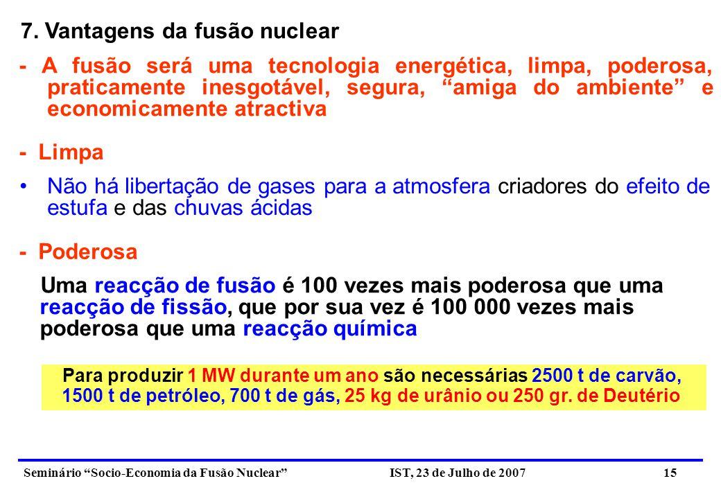 Seminário Socio-Economia da Fusão Nuclear IST, 23 de Julho de 2007 16 Os combustíveis (D e T) podem ser facilmente obtidos em qualquer parte da Terra: - O Deutério pode ser extraído da água - O Trítio, elemento radiocativo com uma vida média da ordem de 12.4 anos, pode ser produzido no interior do reactor, usando a reacção de um neutrão com uma camada fértil de Lítio.