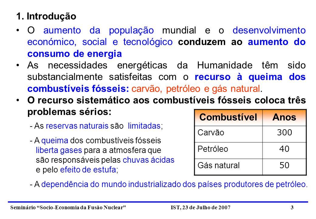 Seminário Socio-Economia da Fusão Nuclear IST, 23 de Julho de 2007 4 A Humanidade, consciente do impacto dos problemas atrás referidos no ambiente, no clima, no desenvolvimento social e no equilíbrio geo-político, tem procurado encontrar soluções globais para o problema energético.