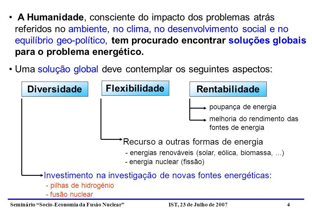 Seminário Socio-Economia da Fusão Nuclear IST, 23 de Julho de 2007 5 2.