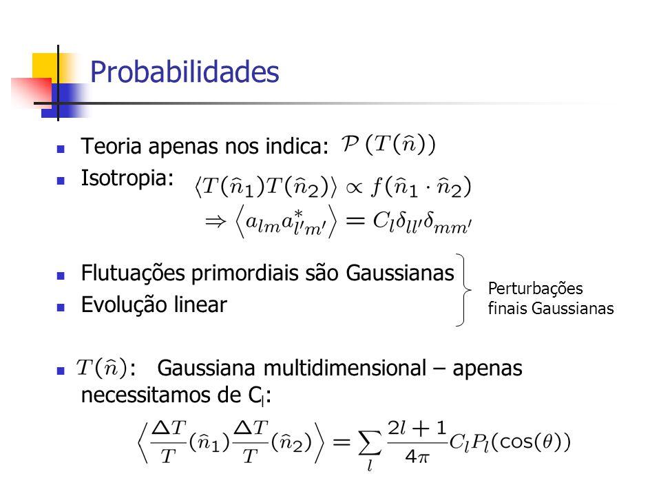 Probabilidades Teoria apenas nos indica: Isotropia: Flutuações primordiais são Gaussianas Evolução linear : Gaussiana multidimensional – apenas necess