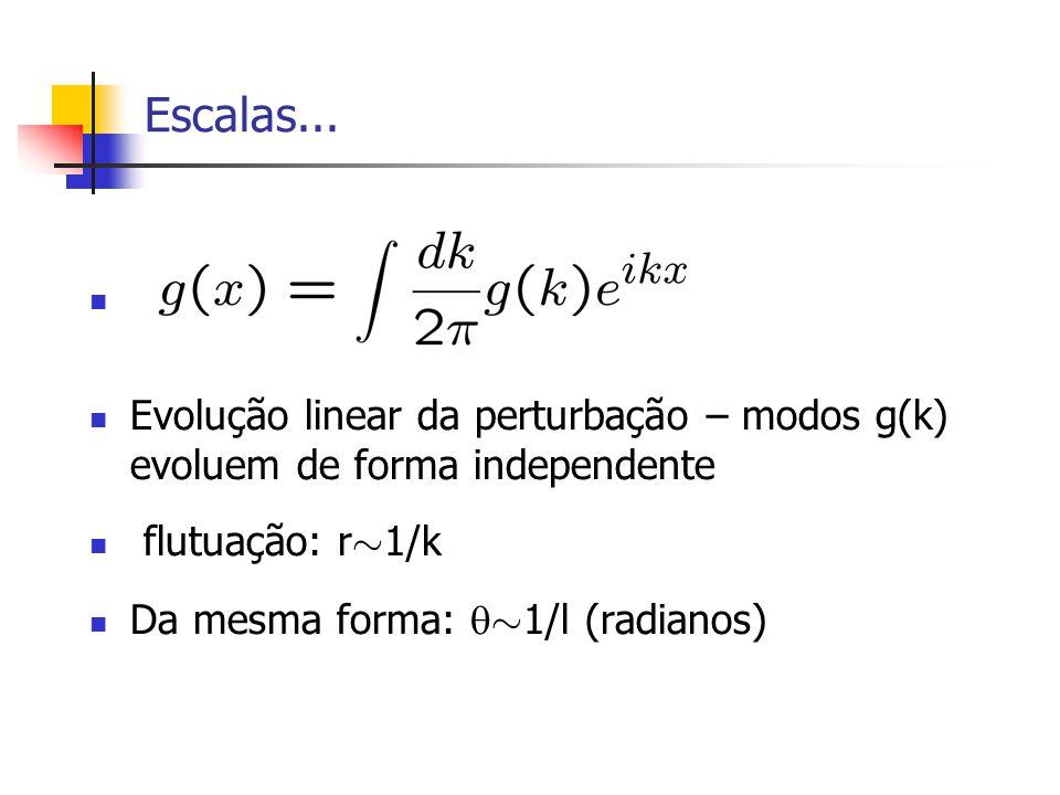 Escalas... Evolução linear da perturbação – modos g(k) evoluem de forma independente flutuação: r » 1/k Da mesma forma: » 1/l (radianos)
