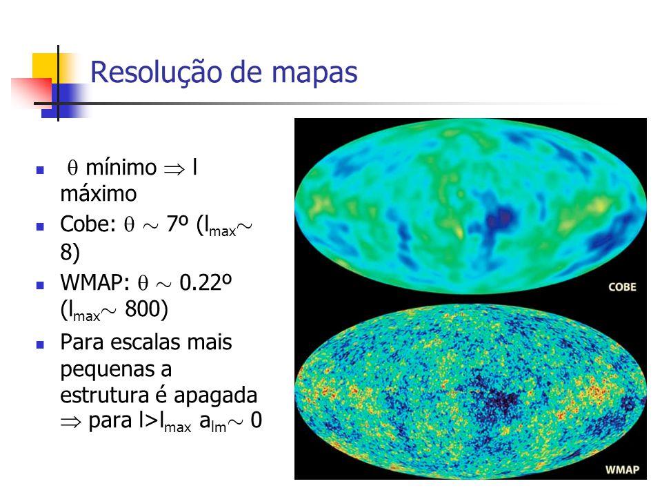 Resolução de mapas mínimo l máximo Cobe: » 7º (l max » 8) WMAP: » 0.22º (l max » 800) Para escalas mais pequenas a estrutura é apagada para l>l max a lm » 0