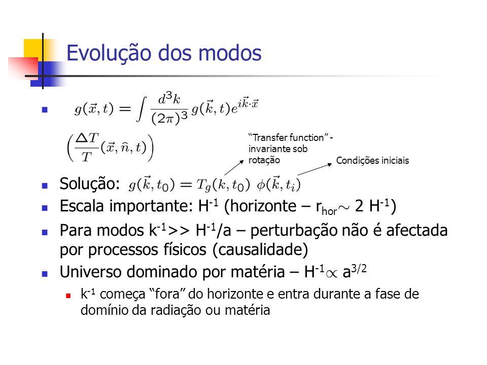 Evolução dos modos Solução: Escala importante: H -1 (horizonte – r hor » 2 H -1 ) Para modos k -1 >> H -1 /a – perturbação não é afectada por processo