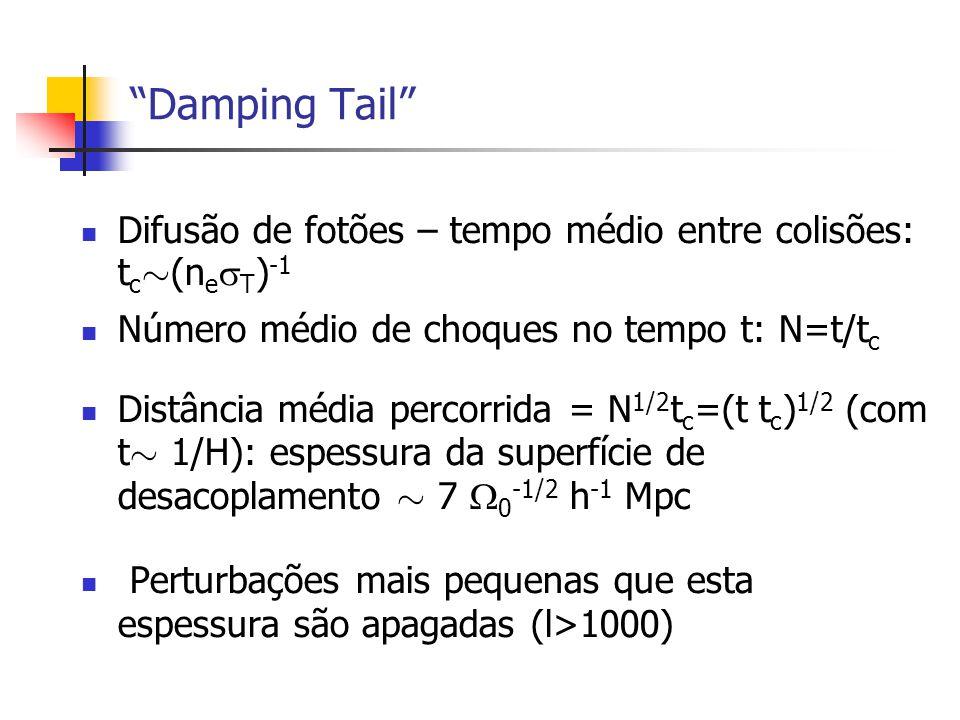 Damping Tail Difusão de fotões – tempo médio entre colisões: t c » (n e T ) -1 Número médio de choques no tempo t: N=t/t c Distância média percorrida = N 1/2 t c =(t t c ) 1/2 (com t » 1/H): espessura da superfície de desacoplamento » 7 0 -1/2 h -1 Mpc Perturbações mais pequenas que esta espessura são apagadas (l>1000)