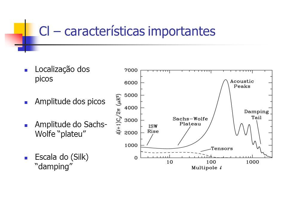 Cl – características importantes Localização dos picos Amplitude dos picos Amplitude do Sachs- Wolfe plateu Escala do (Silk) damping