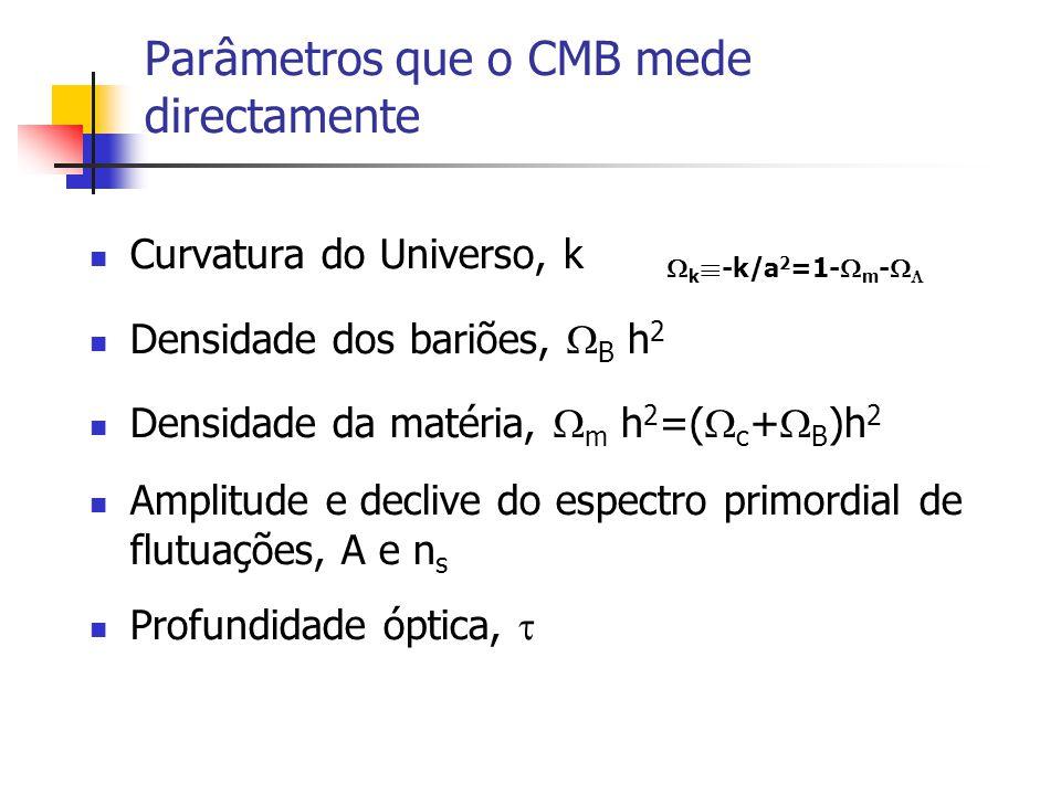 Parâmetros que o CMB mede directamente Curvatura do Universo, k Densidade dos bariões, B h 2 Densidade da matéria, m h 2 =( c + B )h 2 Amplitude e declive do espectro primordial de flutuações, A e n s Profundidade óptica, k ´ -k/a 2 =1- m -