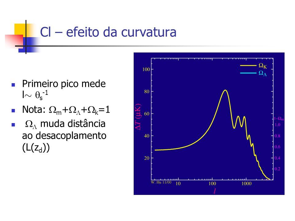 Cl – efeito da curvatura Primeiro pico mede l » s -1 Nota: m + + k =1 muda distância ao desacoplamento (L(z d ))