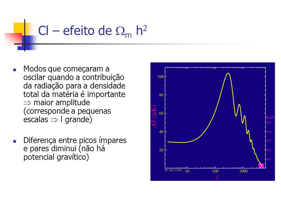 Cl – efeito de m h 2 Modos que começaram a oscilar quando a contribuição da radiação para a densidade total da matéria é importante maior amplitude (corresponde a pequenas escalas l grande) Diferença entre picos ímpares e pares diminui (não há potencial gravítico)