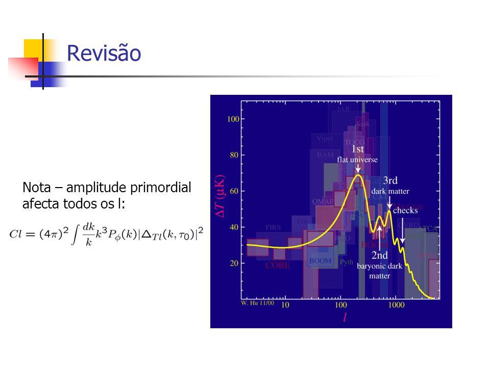 Revisão Nota – amplitude primordial afecta todos os l: