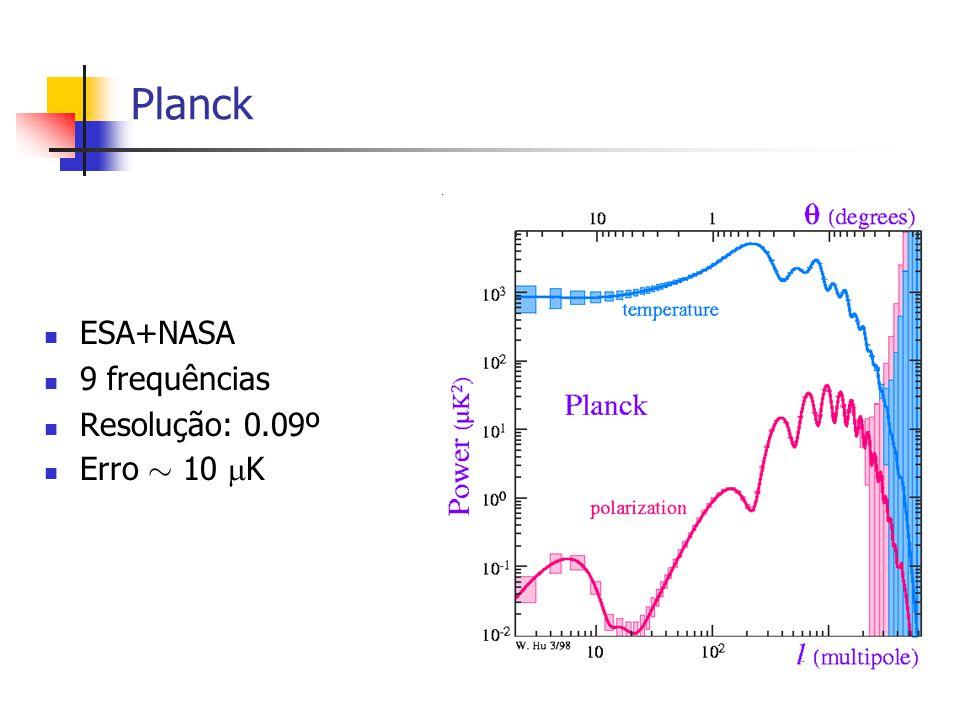 Planck ESA+NASA 9 frequências Resolução: 0.09º Erro » 10 K