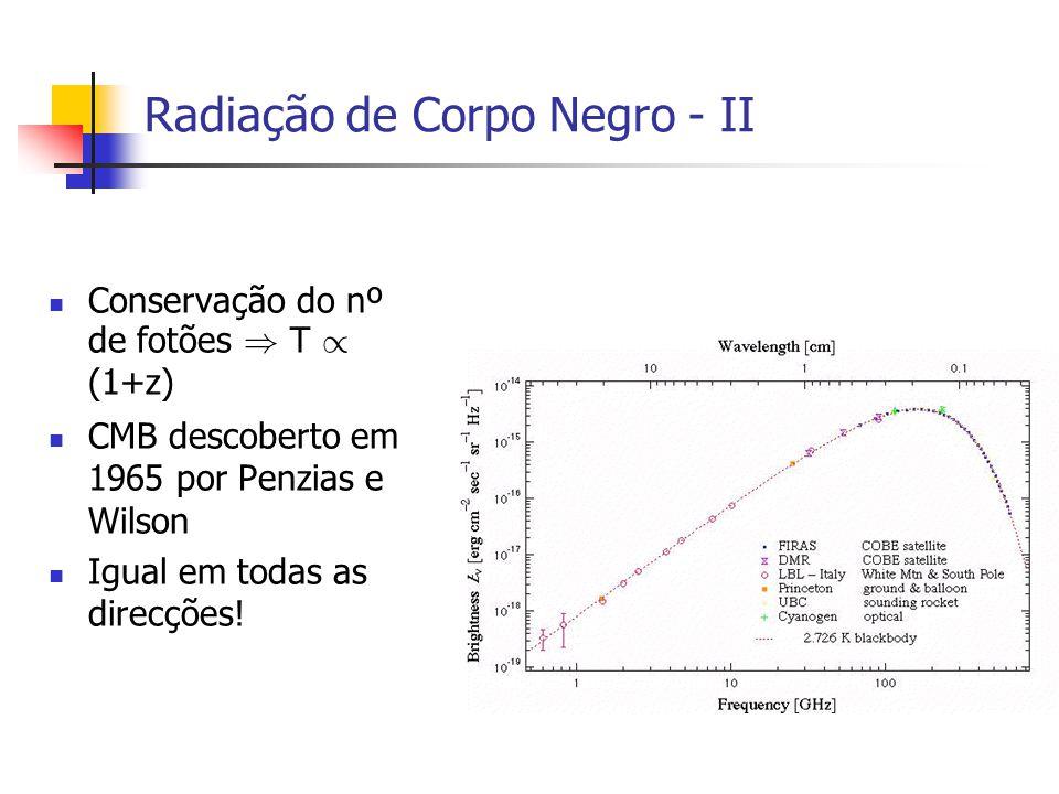 Radiação de Corpo Negro - II Conservação do nº de fotões ) T / (1+z) CMB descoberto em 1965 por Penzias e Wilson Igual em todas as direcções!