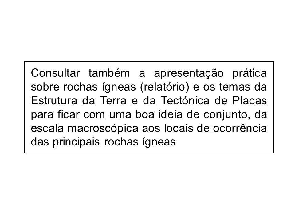 Consultar também a apresentação prática sobre rochas ígneas (relatório) e os temas da Estrutura da Terra e da Tectónica de Placas para ficar com uma b