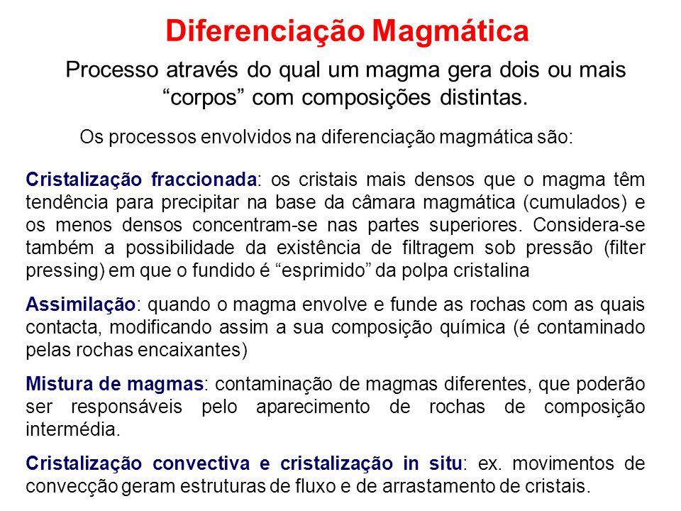 Diferenciação Magmática Processo através do qual um magma gera dois ou mais corpos com composições distintas. Cristalização fraccionada: os cristais m