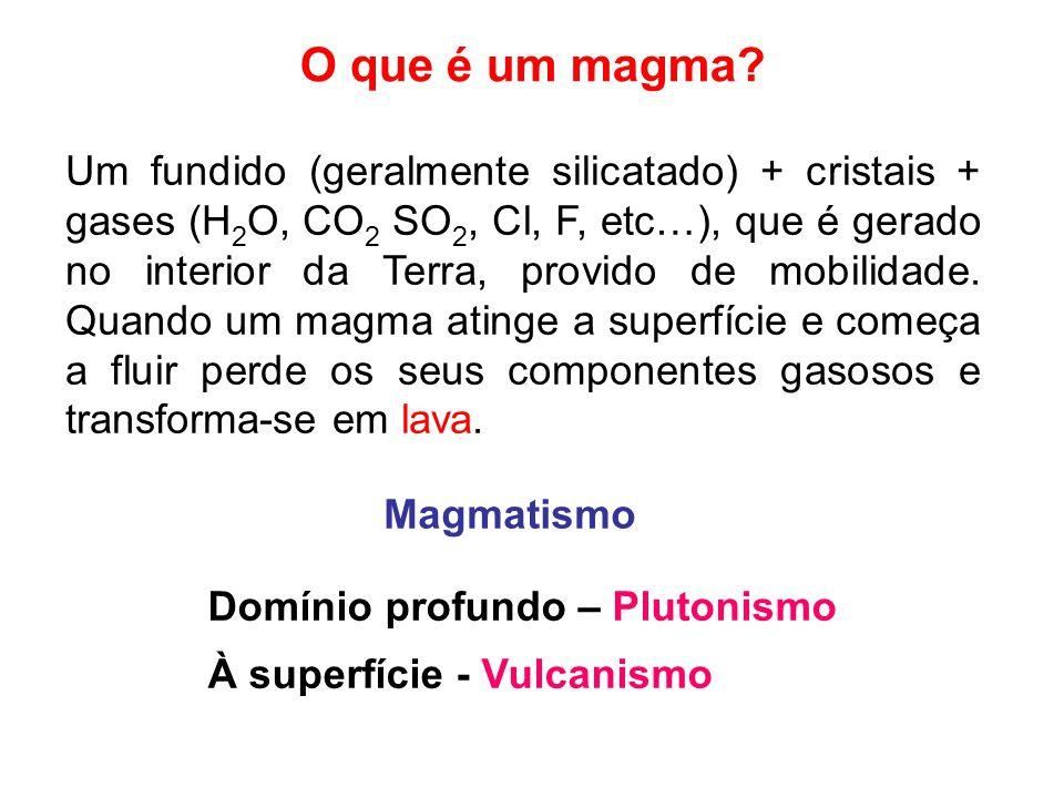 O que é um magma? Um fundido (geralmente silicatado) + cristais + gases (H 2 O, CO 2 SO 2, Cl, F, etc…), que é gerado no interior da Terra, provido de