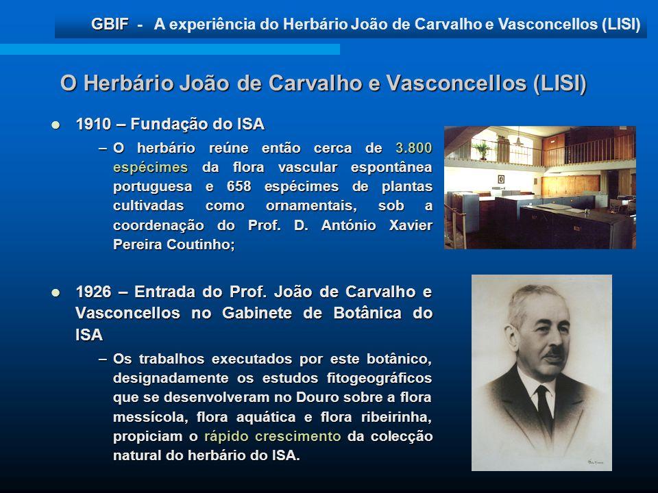 GBIF GBIF - A experiência do Herbário João de Carvalho e Vasconcellos (LISI) O Herbário João de Carvalho e Vasconcellos (LISI) 1910 – Fundação do ISA