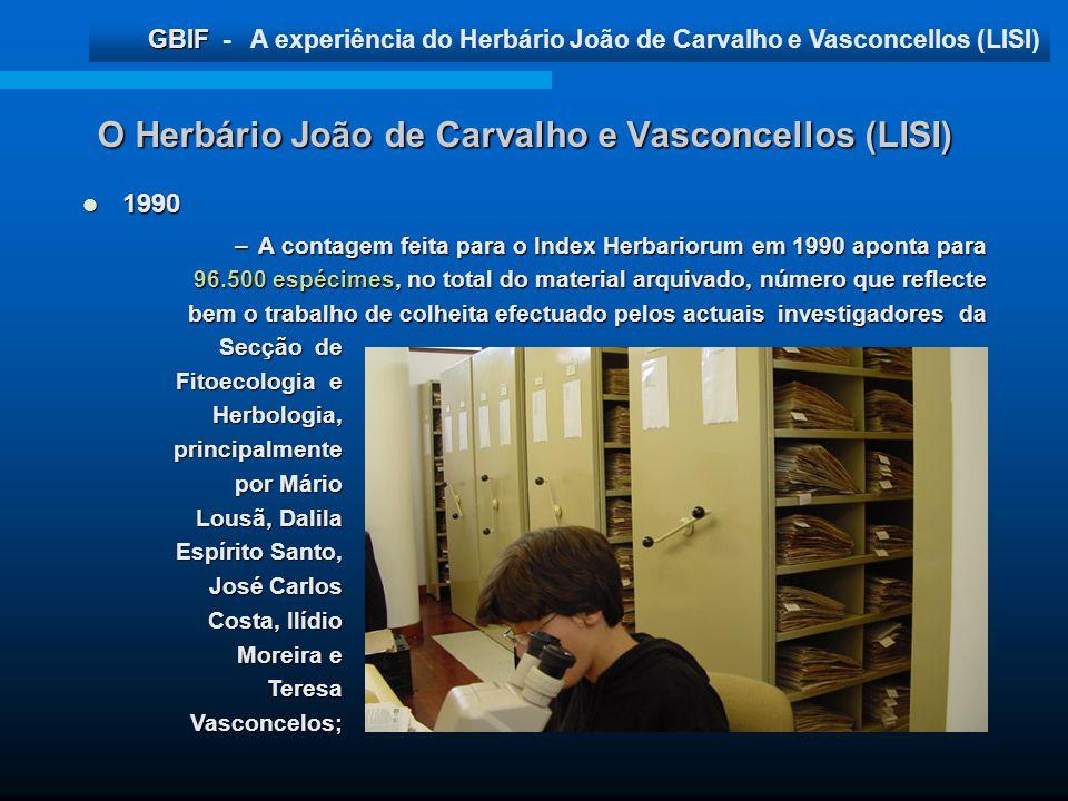GBIF GBIF - A experiência do Herbário João de Carvalho e Vasconcellos (LISI) O Herbário João de Carvalho e Vasconcellos (LISI) 1990 1990 –A contagem f