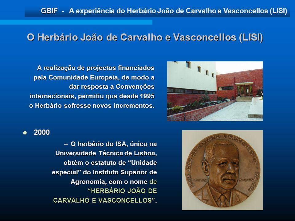 GBIF GBIF - A experiência do Herbário João de Carvalho e Vasconcellos (LISI) O Herbário João de Carvalho e Vasconcellos (LISI) 2000 2000 –O herbário d
