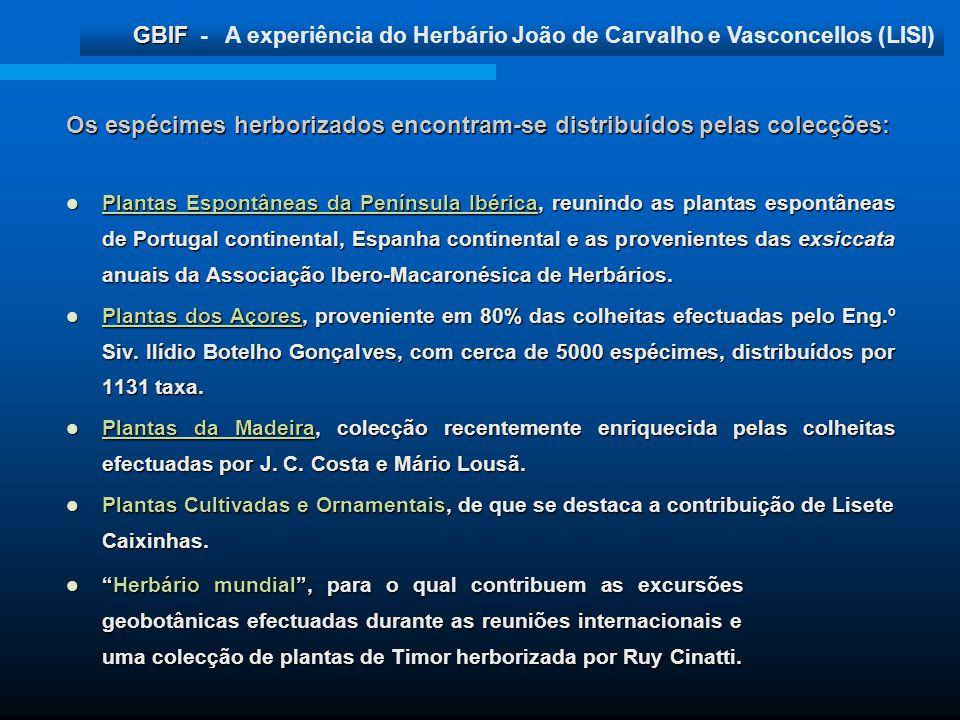 GBIF GBIF - A experiência do Herbário João de Carvalho e Vasconcellos (LISI) Os espécimes herborizados encontram-se distribuídos pelas colecções: Plan