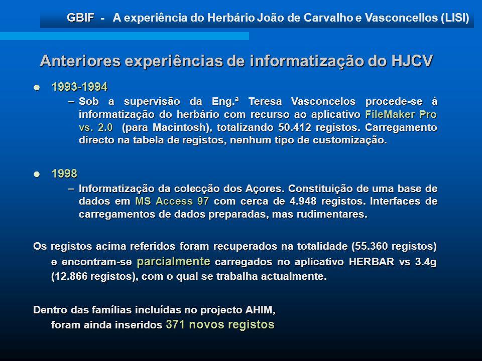 GBIF GBIF - A experiência do Herbário João de Carvalho e Vasconcellos (LISI) Anteriores experiências de informatização do HJCV 1993-1994 1993-1994 –So
