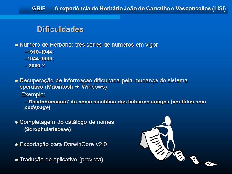 GBIF GBIF - A experiência do Herbário João de Carvalho e Vasconcellos (LISI) Dificuldades Número de Herbário: três séries de números em vigor Número d