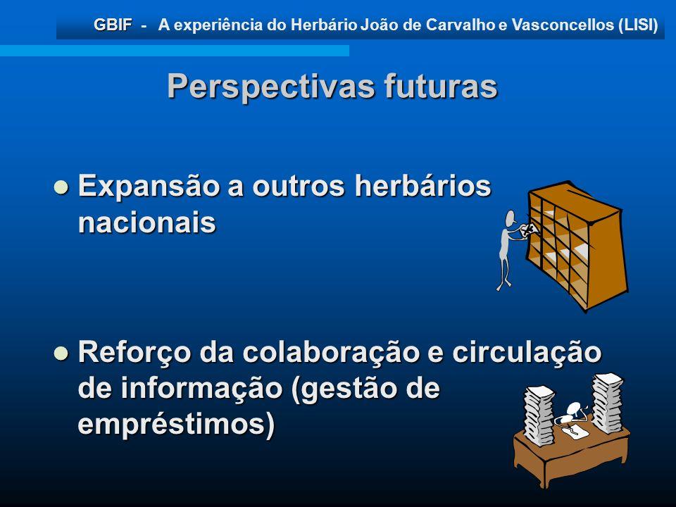 GBIF GBIF - A experiência do Herbário João de Carvalho e Vasconcellos (LISI) Perspectivas futuras Expansão a outros herbários nacionais Expansão a out