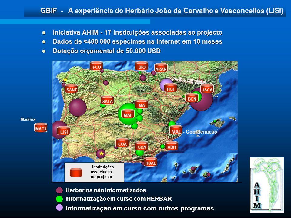 GBIF GBIF - A experiência do Herbário João de Carvalho e Vasconcellos (LISI) Herbarios não informatizados Informatização em curso com HERBAR Informati